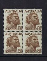 Australian Pre-Decimal Stamps 1950 8 1/2d Brown Aboriginal Man, Block 4 MNH