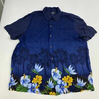 George Button Up Shirt Men's Size XL Short Sleeve Blue Yellow Floral Hawaiian