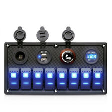 8 Gang LED Kippschalter Panel 12V/24V Lastwagen Boot Marine Voltmeter Sicherheit