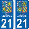 2 STICKERS STYLE PLAQUE IMMATRICULATION BLASON BOURGOGNE FRANCHE COMTÉ DEPT 21