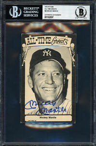 Mickey Mantle Autographed 1975 TCMA All Time Greats Postcard 93 Beckett 11628397