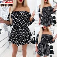 US Womens Polka Dot Off Shoulder Mini Dress Casual Summer Holiday Beach Sundress