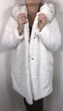 Faux Fur Coat Hood White Soft Fully Lined Plus Size 16 18 20 NEW