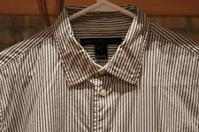 Marc by Marc Jacobs Button Up Long Sleeve Shirt White Grey Stripe Size Large L