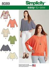 Simplicity Easy SEWING PATTERN 8089 Misses Batwing Tops