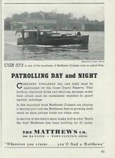 1942 WWII Mathews CGR 573 Patrol Cruiser Boat Ad / Port Clinton OH / Coast Guard