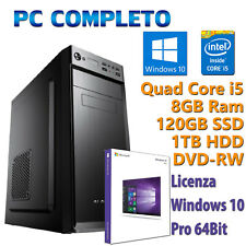 PC FISSO COMPUTER NUOVO DESKTOP QUAD CORE i5 8GB SSD 120GB + HDD 1TB WINDOWS 10