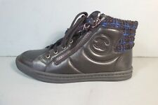 CHANEL 36 Black Blue Tweed Lambskin Lace Up Sneakers Tennis Shoes Biker Moto NEW