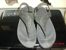FITFLOP LOGO DK GRAY EMBELLISHED T STRAP SANDALS WITH BACK STRAP SZ 9 GUC