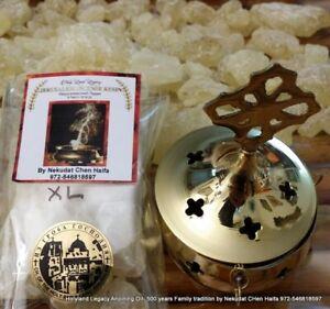 Brass burner + Jerusalem Natural XL FrankIncense resin from Holy Land 50 Gram