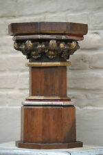 SALE!Beautiful Neo Gothic Church stand / pedestal in oak with corinthian capital