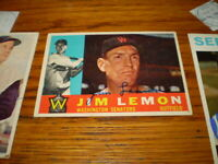 autographed jim lemon 1960 topps signed baseball card # 440 washington senators