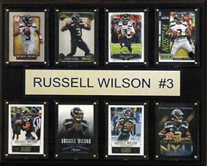 CandICollectables NFL 12 x 15 in. Russell Wilson Seattle Seahawks 8-Card Plaque