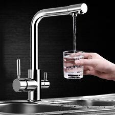 TAPCET Rubinetto a 3 vie, doppio manico da cucina Rubinetto per lavabo, rubinett