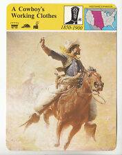 A COWBOY'S WORKING CLOTHES Artwork Sombrero Chaps STORY OF AMERICA HISTORY CARD