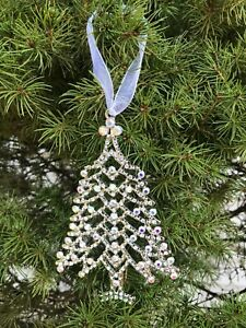 Christmas Tree Ornament in Silver with Crystals Hangs with Ribbon