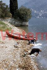 2 Women Washing Clothes in Lake Como Italy 1954 Kodak Red Border 35mm Slide