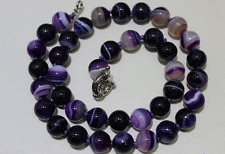 """NEW 10mm natural purple striped agate charm necklace 18"""""""