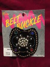 Black Velvet Belt Buckle Beaded Buckle Front Only Vintage