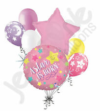 7 pc Star is Born Baby Girl Balloon Bouquet Decoration Welcome Home Twinkle Pink