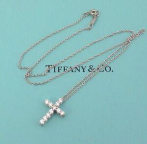 TIFFANY & Co. Platinum .42ct Diamond Cross Pendant Necklace $3,200
