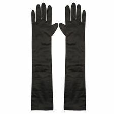 Black Long Elbow Masquerade 1920s Burlesque Jersey Velour Fancy Dress Gloves