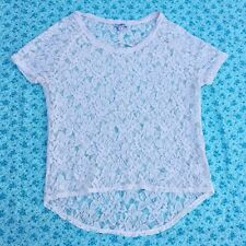 Express High-Low Lace Tee - Cream (Size Small)