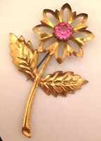 Vintage Pin Brooch Large Pink Rhinestone Floral C Clasp Estate Jewelry 5e