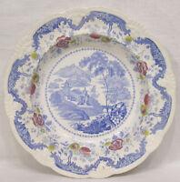 Vintage Transferware Bowl Davenport Pattern Pink Blue Floral Asian Motif 1800s