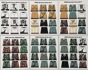 Custom 72 stickers german soldiers  6 sets - grey winter camo SIZE - lego torso