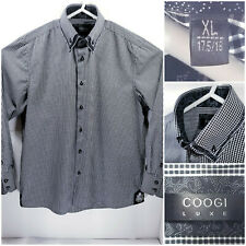 COOGI Luxe Mens XL 17.5/18 Shirt Long Sleeve Button Up Black White Checks