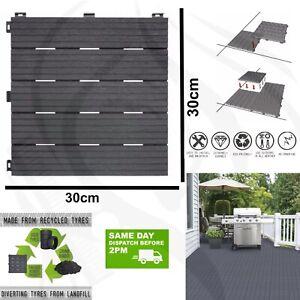 10X Plastic Wpc Garden Decking Tiles Interlocking Balcony Patio Boards Flooring