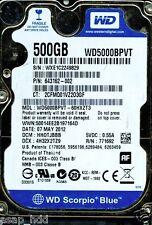 WESTERN DIGITAL SATA 500GB WD5000BPVT-60HXZT3 DCM: HHOTJBBB
