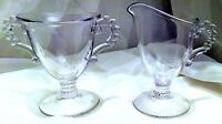 Candlewick Footed Creamer and Sugar Set, Imperial Glass Company Coffee Set Glass