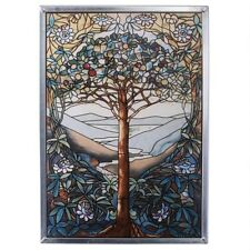 """Tiffany Style """"TREE OF LIFE"""" Stained Art Glass Window Panel"""