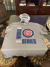 Chicago Cubs Men's 2016 World Series '47 Brand' Tee Shirt Sz L New Era Hat Combo