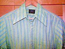 Vintage Towncraft Mens Mid Century Mod Green & Blue Stripe Shirt 15-15 1/2, M