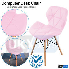 Eiffel Dining Chair Retro Wooden Legs Faux Leather Padded Patchwork Office Pink