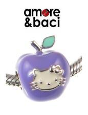 NUOVO CON SCATOLA ORIGINALE AMORE & BACI ARGENTO STERLING 925 Lilla Hello Kitty Apple Charm Bead