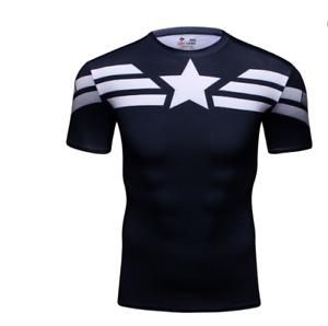 Mens Cody Lundin Avenger Captain America Fitness Sports cycling Running T-Shirt