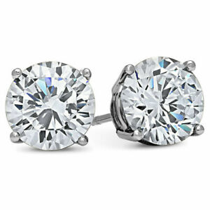 MENS 4 CARAT CZ Stud Earrings Round large guys cubic zirconium WHITE GOLD FILLED
