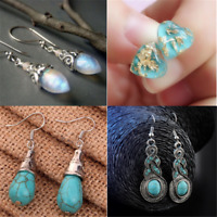 Luxury Women Natural Turquoise Earrings Ear Stud Ear Dangle Drop Jewelry Gift