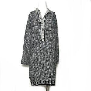 Comptoir Des Cotonniers Long Sleeve Geometric Slip Sheath Dress Medium White