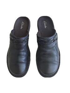 Clarks Black Lesther Slip On Comfort Mules Size  8.5M