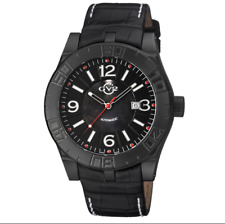 GV2 by Gevril La Luna Mens Swiss Automatic Black Leather Strap Watch