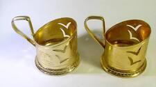 Pair Vintage RUSSIAN USSR SOVIET GLASS HOLDER PODSTAKANNIK.