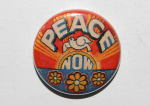 PEACE NOW 25MM / 1 INCH BUTTON BADGE RETRO HIPPY 60s SIXTIES and LOVE FLOWER