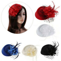 Women Feather Floral Mesh Fascinator Hat Headband Hair Clip Wedding Cocktail US