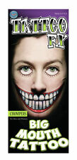 Big Mouth Temporary Tattoos - Chompers Costume Halloween Zombie Face Tattoo