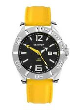 Sekonda Mens Black Dial Yellow Strap 200m Designer Watch 3328